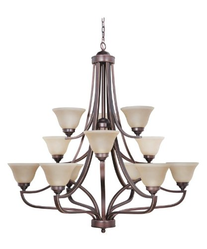 Craftmade 9845Mb12 Up Chandeliers With Amber Frosted Glass Shades, Metropolitan Bronze