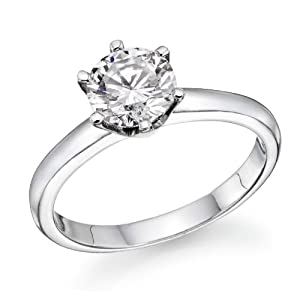 1/2 ct Round Diamond Solitaire Engagement Ring in 14k White Gold VS2 Clarity