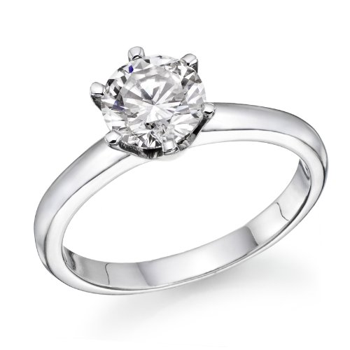 0.60 Carat Round Diamond Solitaire Engagement Ring in 18k white-gold IJ I1-I2
