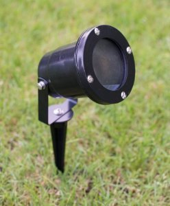 Set of 6 Aluminium Garden Spotlights - With wall bracket and ground spike(Black -x6)