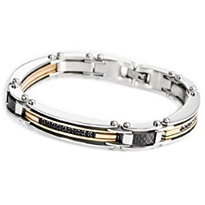 JBlue Jewelry men's Stainless Steel Bracelet Bangle Cuff Chain Silver Gold Link (with Gift Bag)