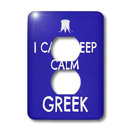 Lsp_172345_6 Xander Funny Sayings - I Cant Keep Calm Im Greek, Blue And White - Light Switch Covers - 2 Plug Outlet Cover