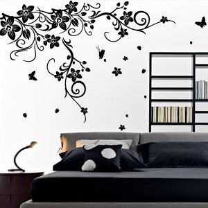 Large Vine Flower Butterfly Wall stickers