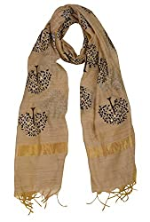Sumona and Me Women's Cotton Silk Dupatta (Beige, Gold and Black)