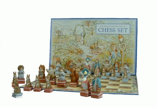 Hand Decorated Beatrix Potter Chess set in Presentation box with Folding Card Chessboard