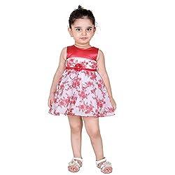 NAVEENS Cotton Orange Round Neck Party wear Dress for Girls