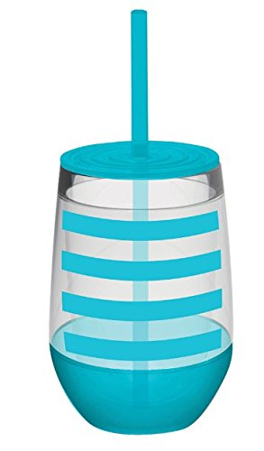 10 oz Aqua Striped Acrylic Double Wall Insulated Stemless Wine Glass with Lid and Straw (Insulated Acrylic Glasses compare prices)