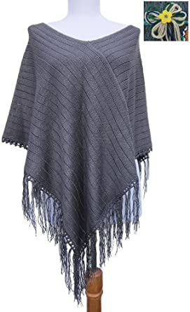 Handmade Lightweight Maternity Poncho - Soothing Gray (Extra Large/Hand-crocheted border)
