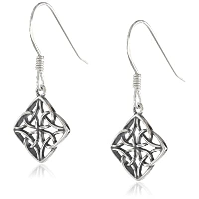 Sterling Silver Celtic Knot Diamond-Shaped Drop Earrings: Jewelry