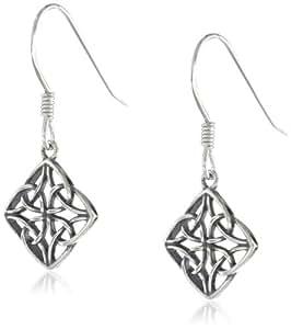 Sterling Silver Celtic Knot Diamond-Shaped Drop Earrings