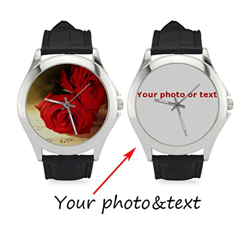 InterestPrint Personalized Custom Gift Women's Classic Leather Strap Casual Wrist Watch with Your Photo or Text (Custom Photo Watch compare prices)
