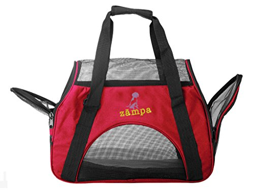 ZAMPA Soft-Sided Kennel, For Small Size Puppies & Cat's Carrier. With 2 Openings + Shoulder Strap Great For Travel. Foldable & Space-Free – Red