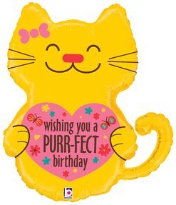 Betallic 35023 Purr-Fect Birthday Shop Flat Balloon, 30""