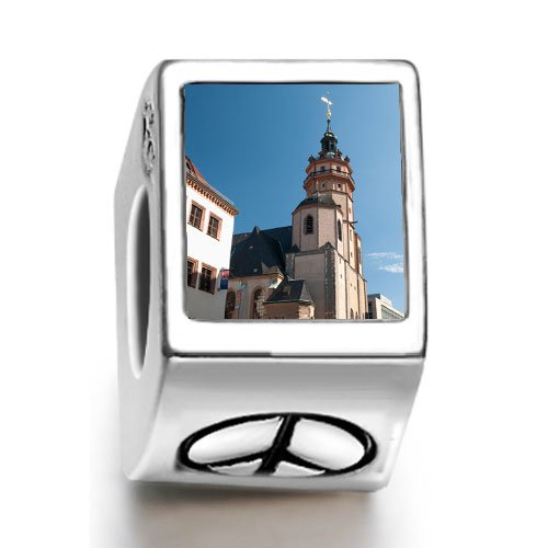 SoufeelonlineTower of Gothic St Nicholas Church photo peace symbol European charm bead Fit Pandora Chamilia Biagi beads Charms Bracelet