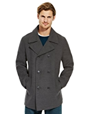 Double Breasted Pea Coat with Wool