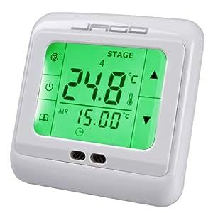 Thermostat d'ambiance - affichage LCD à éclairage vert - panneau de commande à écran tactile - 86 x 82 mm