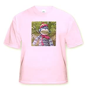 Lee Hiller Designs Colorful Sock Monkeys - Colorful Sock Monkeys Hoilday I - T-Shirts - Youth Light-Pink-T-Shirt Med(10-12)