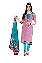 Pandadi Creation Women's Cotton Multicolor Color Unstitched Dress Material with Cotton Dupatta