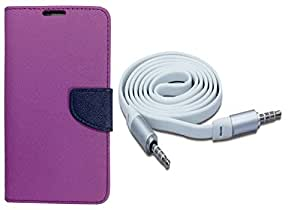 Novo Style Wallet Case Cover For Samsung Galaxy A5 Purple + 3 feet Slim 3.5mm Music Record Stereo Audio Auxiliary AUX Cable Cord