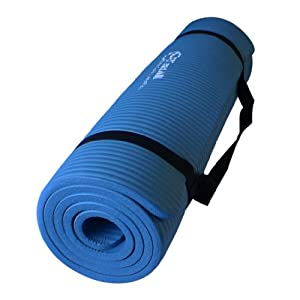 Premium 1/2-Inch Extra Thick w/ 68 x 24-Inch High Density Durable Close-foam Tech. Exercise Yoga Mat w/ Carry Strap - Best Quality - Lowest Promotional Price (Black or Blue)
