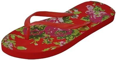 Ladies Fashion Thong Sandal Floral Print Flip Flop. (3/4, Red)