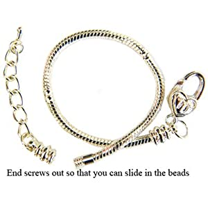 Bracelet for Pandora Beads and charms by GlitZ JewelZ © - Plated black or - available in many sizes 18 to 22 cms