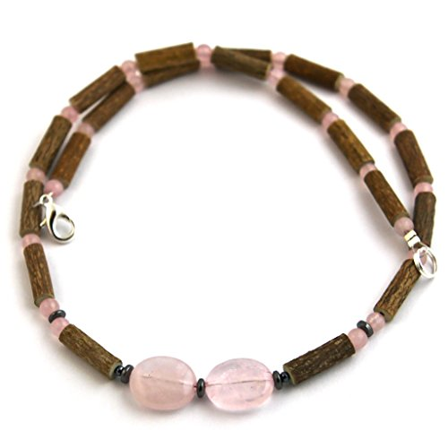 "Hazelaid (TM) Adult Hazelwood-Gemstone Necklace - 18"" Rose Quartz - 1"