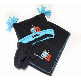 Les Monsieurs Madames - Ensemble de bonnet, gants et foulard pour enfant / garçons (noir) (2 - 4 ans) (Bleu)