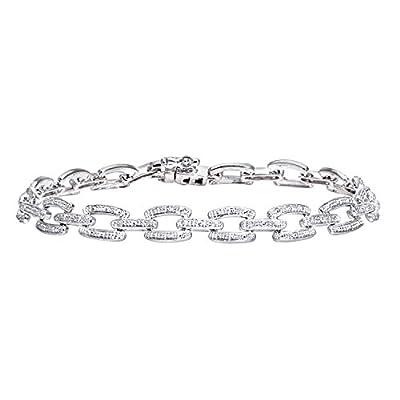 Ariel 9ct White Gold 0.10ct Pave Set Diamond Bar Link Bracelet