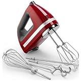 KitchenAid KHM920ER 9-Speed Digital Hand Mixer, Empire Red (includes BONUS dough hooks, whisk, milk shake liquid blender rod