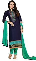 M Fab Ethnic Embroidered Navy Blue Cotton Free Size Straight Salwar Suit Dupatta Semi Stiched Dress Material