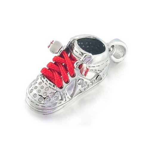 Bling Jewelry Sterling Silver High Top Sneaker Red Baby Shoe Charm Pendant front-218627
