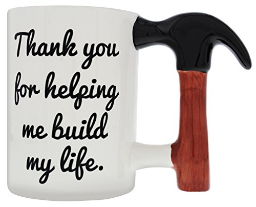 Christmas Gifts for Dad Big Hammer Handle Mug Thank You for Helping Me Build My Life Gift Coffee Mug 14 oz
