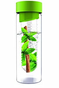 AdNArt Flavour It Glass Water Bottle with Fruit Infuser, Green, 20-Ounce