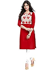 New Arrival Red Flower Printed Cotton Casual Tunic Tops Kurti For Women