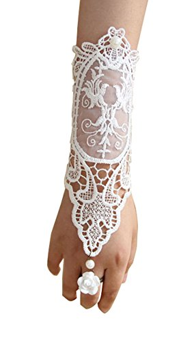 Jelinda Women Pearl Fingerless Wedding Bridal Bracelet Chain Ring Lace Glove