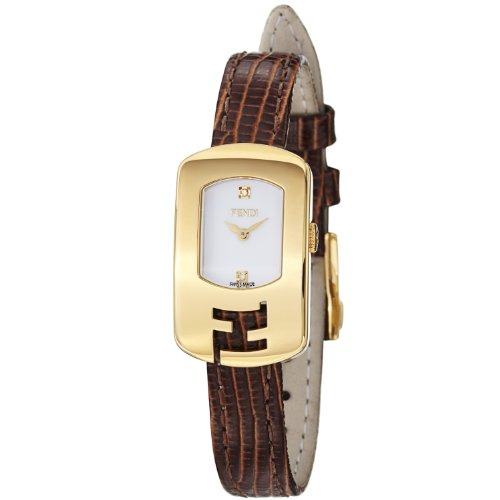 Fendi Chameleon Ladies Brown Leather Strap Yellow Goldtone Diamond Watch F300424021D1