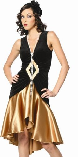 Halloween Adult Womens Costumes Roaring 1920s 1920's Flapper Satin Dress Costume Theme Party Outfit