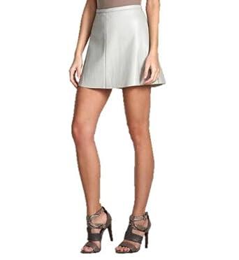 bcbgmaxazria bcbg bold flared faux leather gray mini skirt