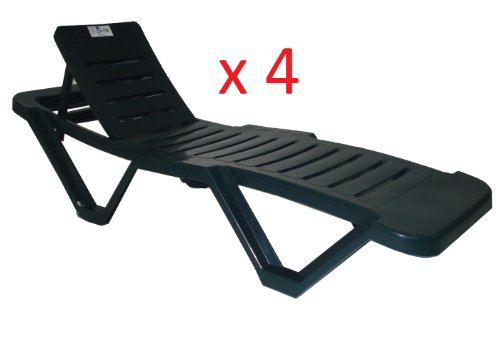 Resol Green Sun Lounger - (Pack of 4 Sun Loungers) - UV Resistant, stylish and durable furniture for your garden