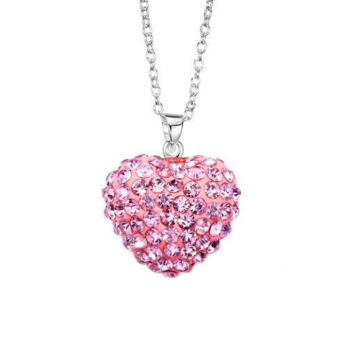 Authentic CZ Pink Sterling Silver LARGE Heart Pendant. 16 mm Size With Cubic Zirconia Handset Pink Diamond Color Stones