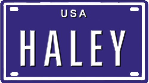 Cheap HALEY USA MINI METAL EMBOSSED LICENSE PLATE NAME FOR BIKES TRICYCLESWAGONS KIDS DOORS GOLF CARTS BABY STROLLERS PEDAL CARS.  sc 1 st  Scooters & Scooters: HALEY USA MINI METAL EMBOSSED LICENSE PLATE NAME FOR BIKES ...
