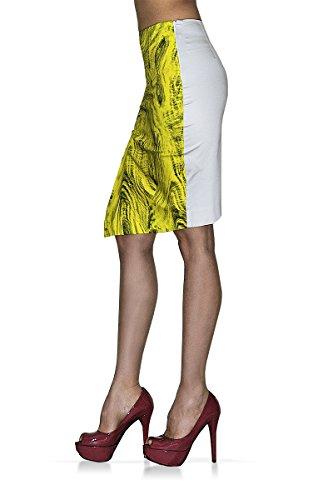 Gonna Donna - Longuette - ISCHIA - Tessuto elasticizzato - Stampa Pietra (44 L IT Donna, Grigio Perla /Giallo)