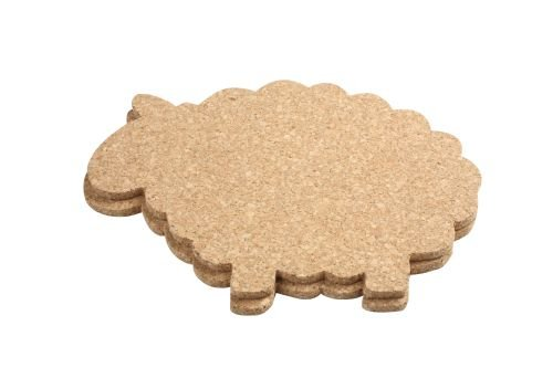 T&G Woodware Sheep Shaped Hot Pot Stands/Table Mats in FSC Mixed Source Cork, Set of 2