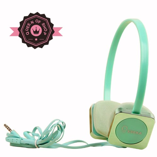 Ke700 Green Cute Metal Gloss 40 Mm Speaker Adjustable Over Ear Headphone For Pc Mp3 Mp4 Ipod With Microphone