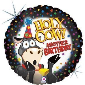"""Holy Cow! Another Birthday"" Holographic 18"" Mylar Balloon (Pack of 2) - 1"