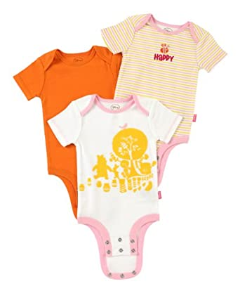 "Disney Baby girl Cuddly Bodysuit Winnie the Pooh ""Hundred Acre Wood"" 3 Pack, White/Orange/Pink, 0-3 Months"