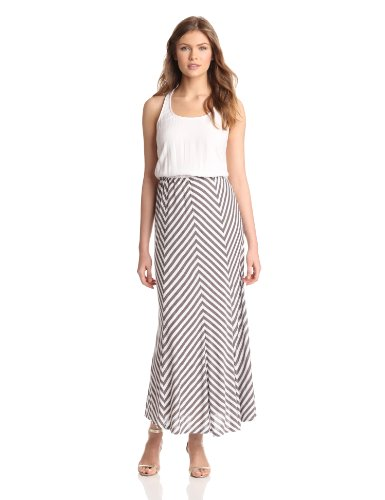 Ella moss Women's Lila Stripe Maxi Dress, Mocha, Large