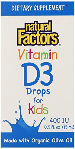 Natural Factors, Vitamin D3 Drops for Kids, 400 IU, 0.5 fl oz (15 ml)