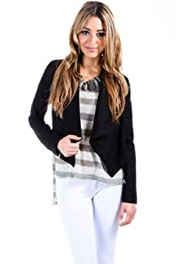 Casual Linen Blazer Wrap in Black